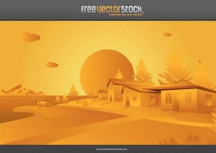 free vector Orange landscape