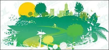 Green homes vector material