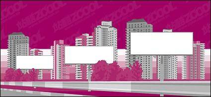 free vector City construction blank billboard material vector