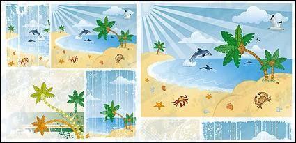 Cartoon seaside scenery vector material