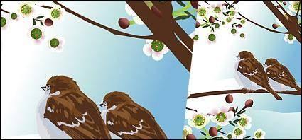 Tow bird on tree