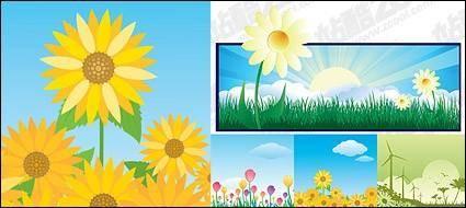 free vector Sunflower sunrise windmill
