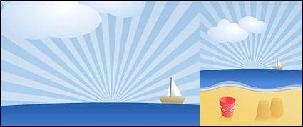 free vector Sailing boast  on sealine