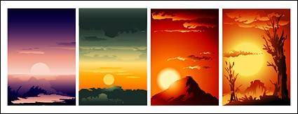free vector Sunrise and sunset collection