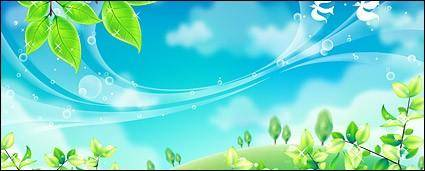 free vector Green leaf and blue sky