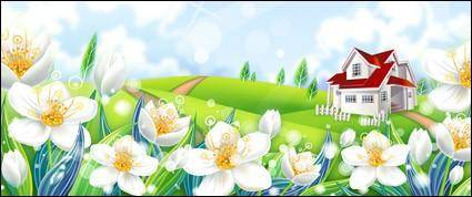 free vector Vila on the hill grass white flower