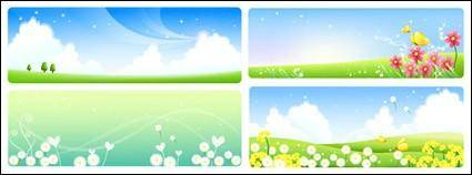 free vector Flower landscape set