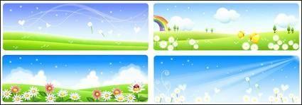 free vector Flower landscape set