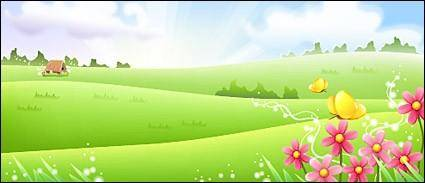 free vector Grass with flower and butterfly