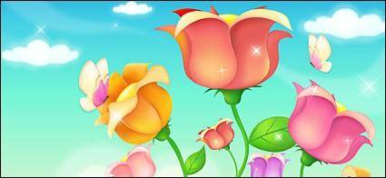 free vector Butterfly and roses