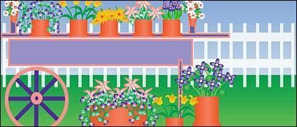 free vector Plants flower in pots out door