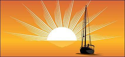 free vector Sailing sunrise