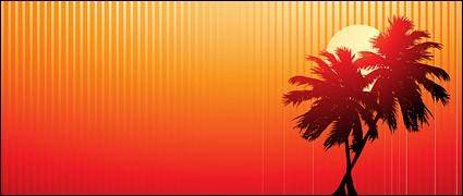 free vector Palm tree at beach sunset