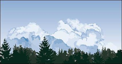 free vector Cloud trees scene