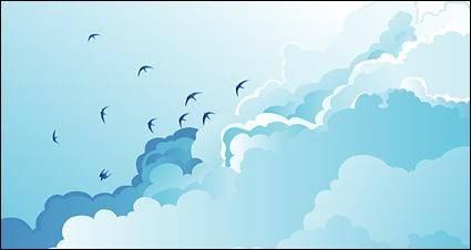 Birds on the cloudy sky