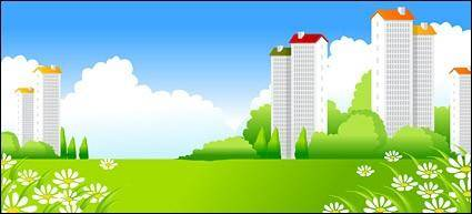 free vector Green city with many Skyscraper