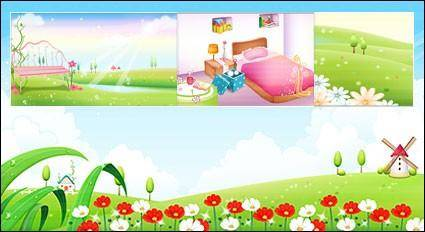free vector Wind mill and flower gardent