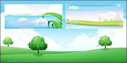 free vector Tree on grass, flower Garden on lake side