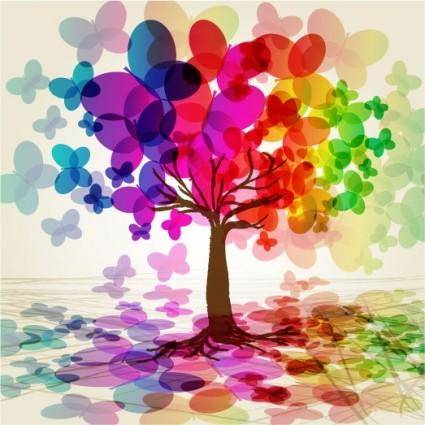 free vector Symphony butterfly tree vector