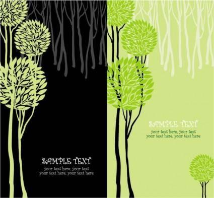 Green tree illustration series 01 vector
