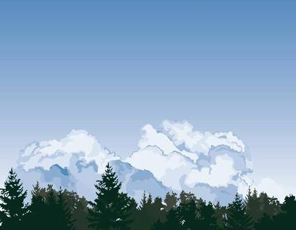 Sky clouds trees vector on