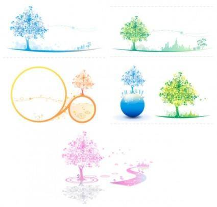 free vector Soft colored trees vector