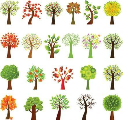 A variety of lovely trees vector