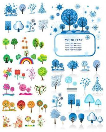 free vector Lovely trees vector