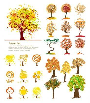 Autumn trees vector