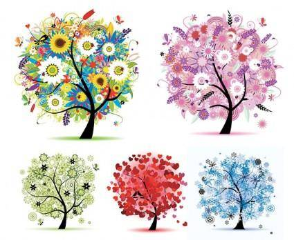 free vector Seasons tree vector