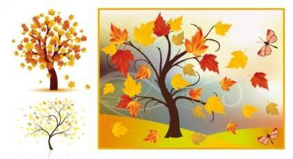 free vector Autumn trees vector