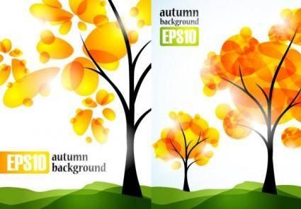 free vector Autumn trees vector