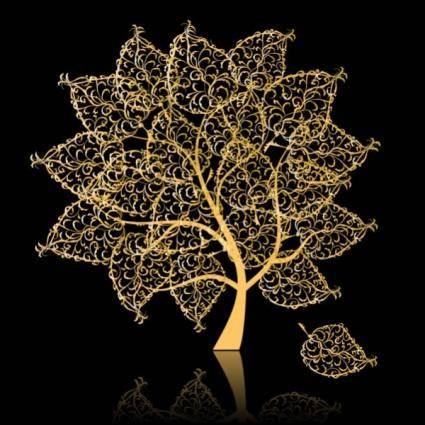 Golden trees vector