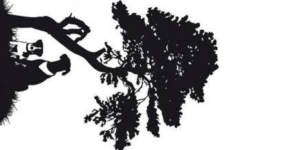 Tree and dog vector