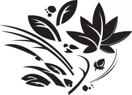 free vector Leaves, grass, pods and rocks