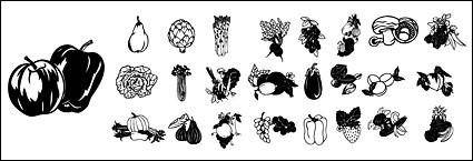 free vector Black and white vector material fruits and vegetables