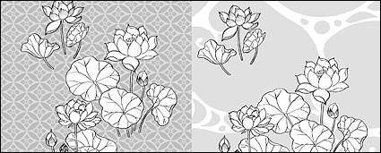 Line drawing of flowers -21