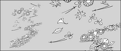 free vector Line drawing of flowers -14