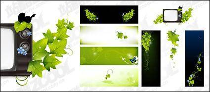 free vector Green butterfly TV vector material