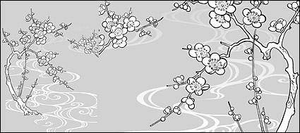 free vector Vector line drawing of flowers-30(Plum blossom, flowing water)