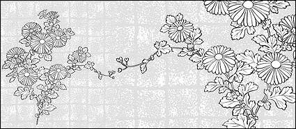 free vector Vector line drawing of flowers-37(Chrysanthemum, background)
