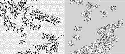 free vector Vector line drawing of flowers-34(Maple Leaf)