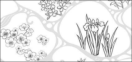 Vector line drawing of flowers-47(Flowing water, flowers, leaves)