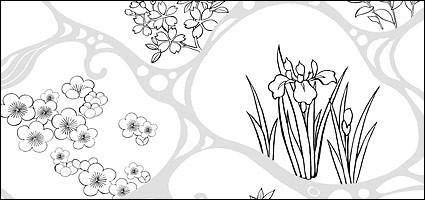 free vector Vector line drawing of flowers-47(Flowing water, flowers, leaves)