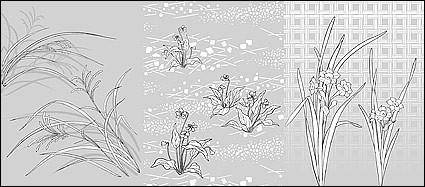 Vector line drawing of flowers-48(Flowers and grass)