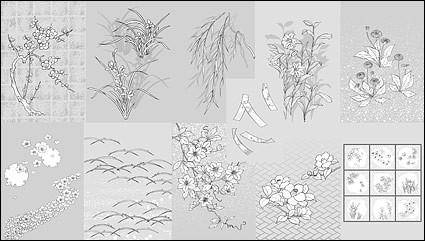 free vector Vector line drawing of flowers -50(dandelion, lily)