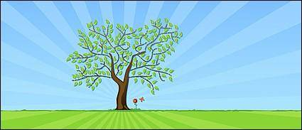 free vector Vector flower trees turf material