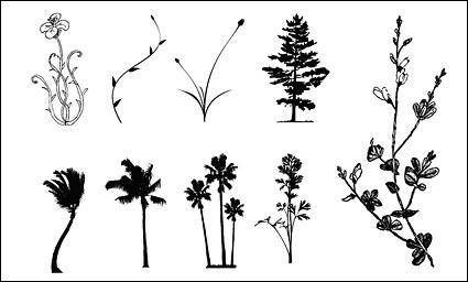 free vector Trees, flowers, rattan vector case material