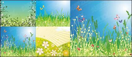 Flowers and butterflies vector material