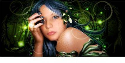 free vector Realistic drawing wizard beauty vector